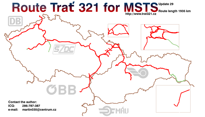 Map of route Trať 321 - last update